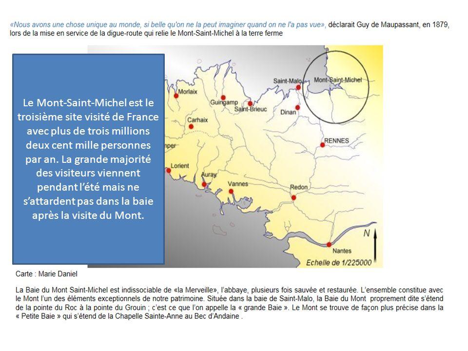 Le Mont-Saint-Michel est le troisième site visité de France avec plus de trois millions deux cent mille personnes par an.