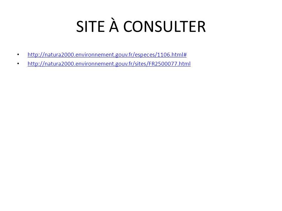 SITE À CONSULTER http://natura2000.environnement.gouv.fr/especes/1106.html# http://natura2000.environnement.gouv.fr/sites/FR2500077.html.