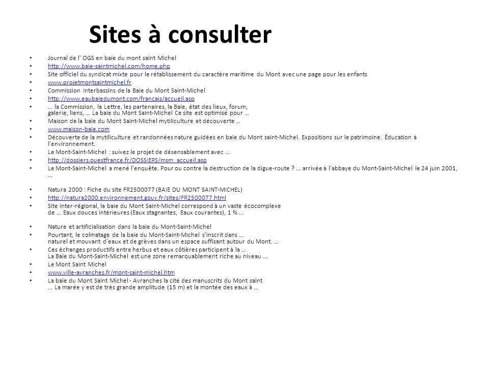 Sites à consulter Journal de l OGS en baie du mont saint Michel