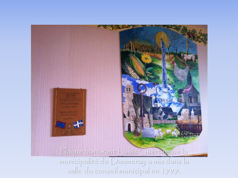 Plaque honorant Louis Guertin que la municipalité de Daumeray a mis dans la salle du conseil municipal en 1999.
