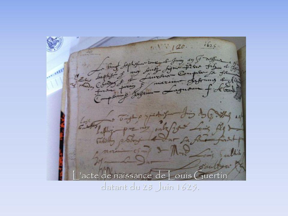 L'acte de naissance de Louis Guertin datant du 28 Juin 1625.