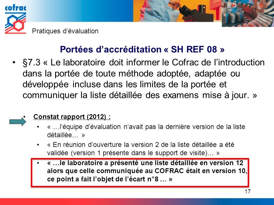 Portées d'accréditation « SH REF 08 »