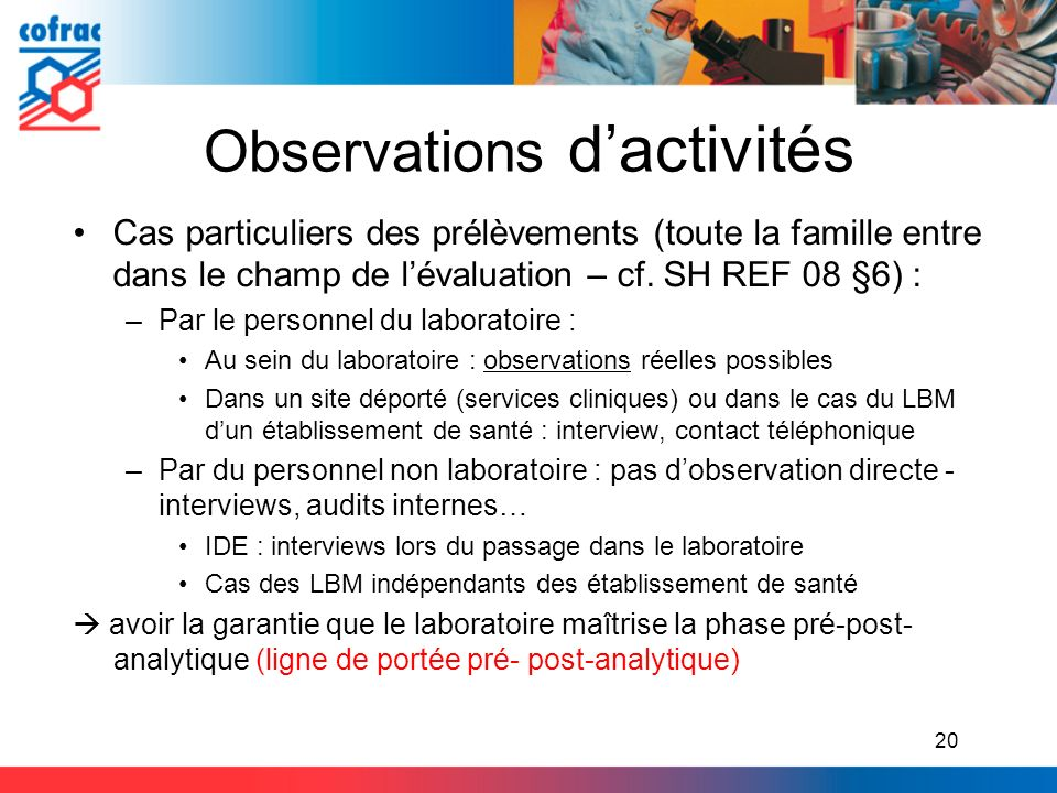 Observations d'activités