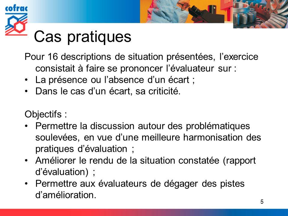 Cas pratiques Pour 16 descriptions de situation présentées, l'exercice consistait à faire se prononcer l'évaluateur sur :
