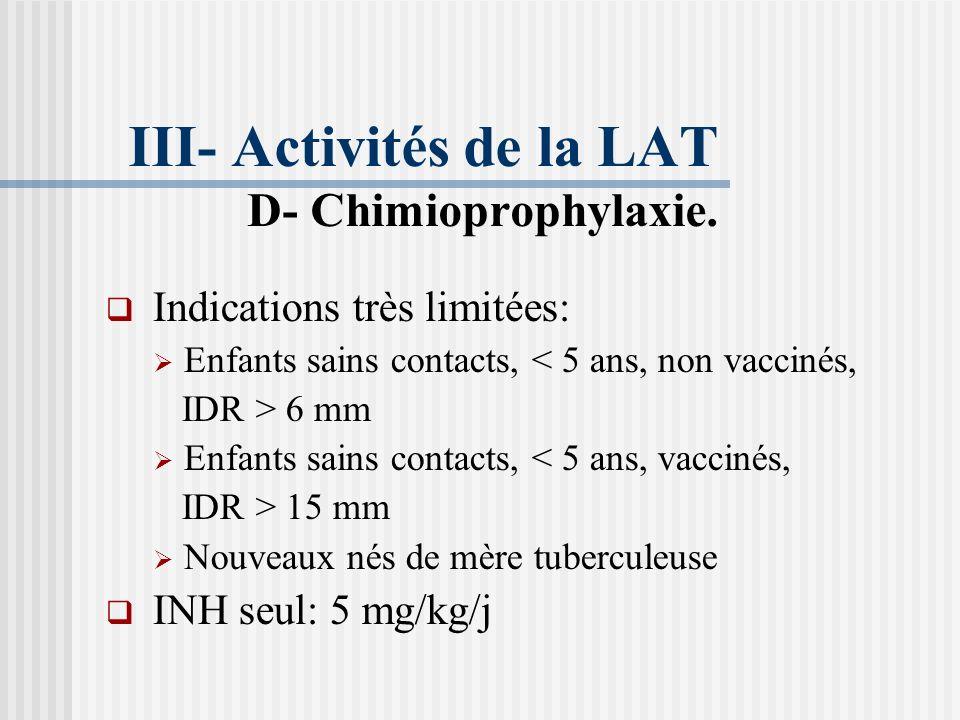 III- Activités de la LAT D- Chimioprophylaxie.