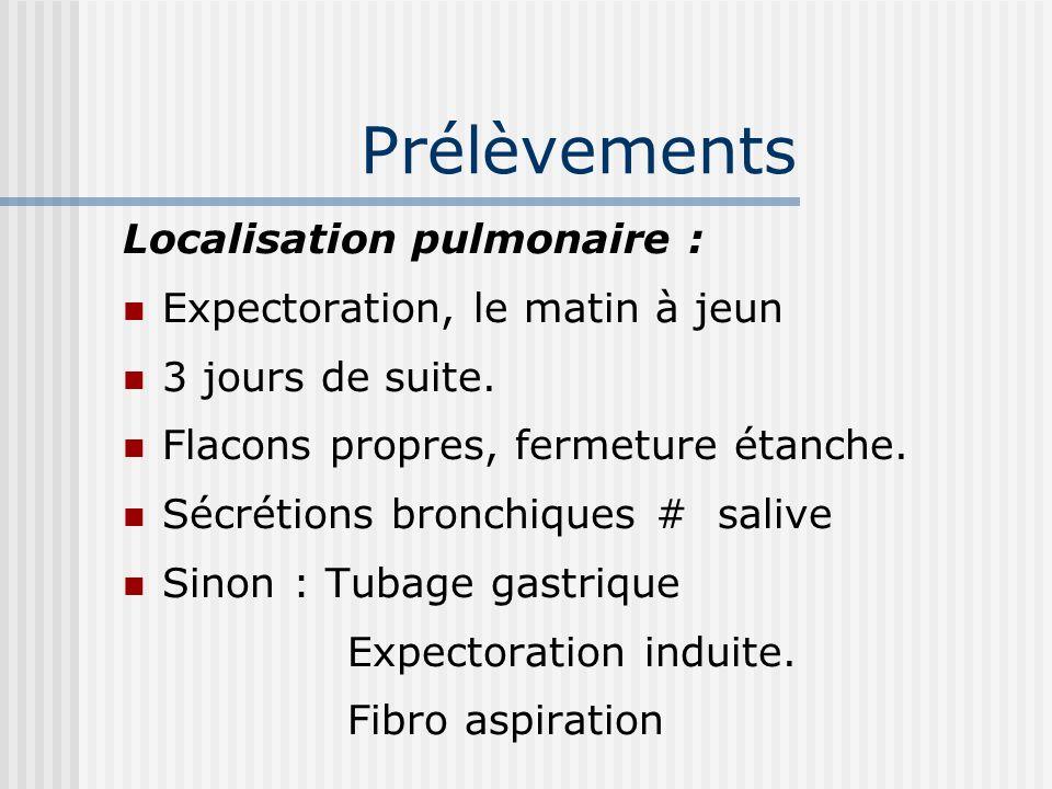 Prélèvements Localisation pulmonaire : Expectoration, le matin à jeun