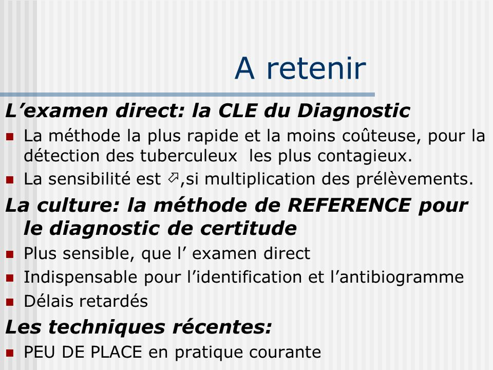 A retenir L'examen direct: la CLE du Diagnostic