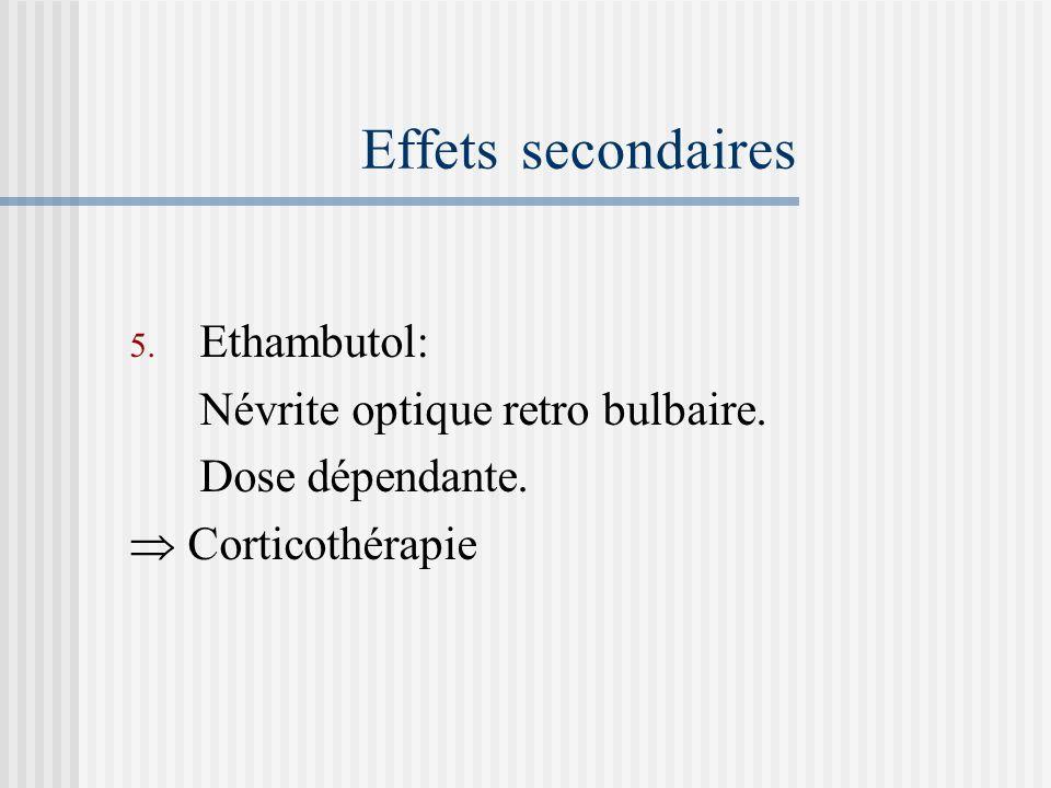 Effets secondaires Ethambutol: Névrite optique retro bulbaire.