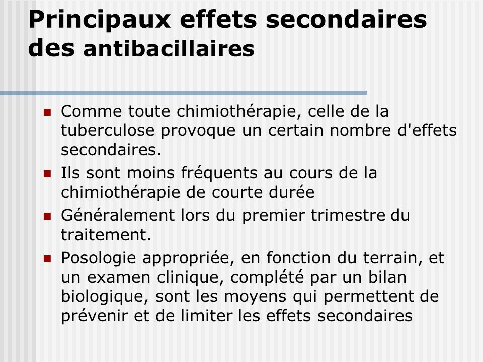 Principaux effets secondaires des antibacillaires