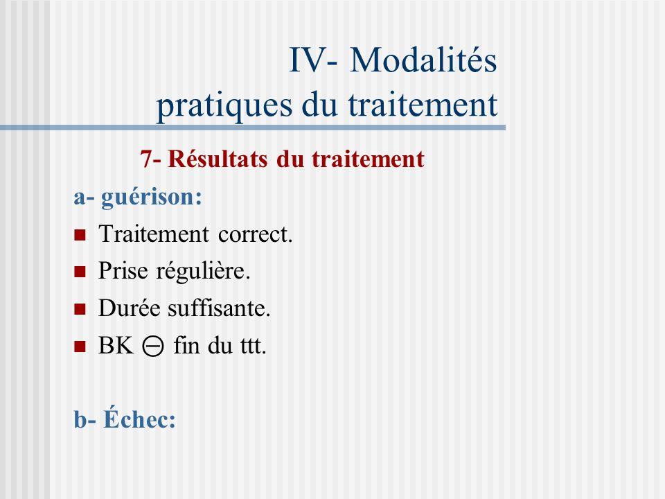 IV- Modalités pratiques du traitement