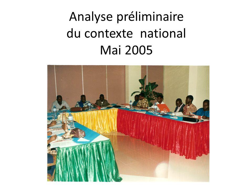 Analyse préliminaire du contexte national Mai 2005