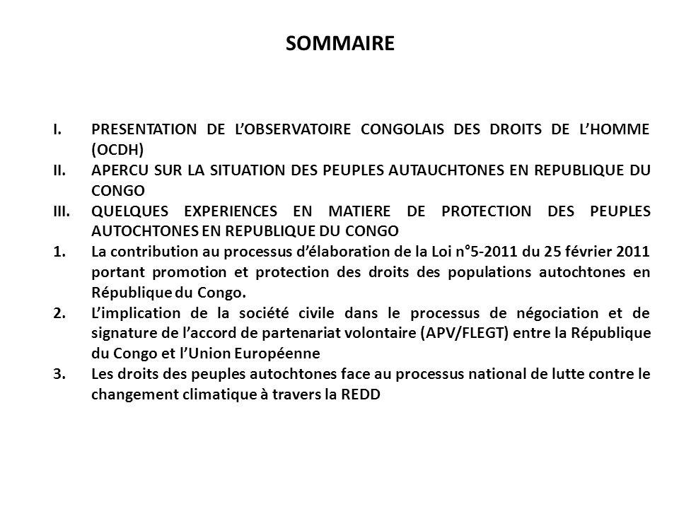 SOMMAIRE PRESENTATION DE L'OBSERVATOIRE CONGOLAIS DES DROITS DE L'HOMME (OCDH)