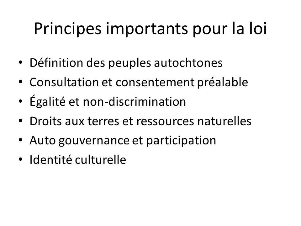 Principes importants pour la loi