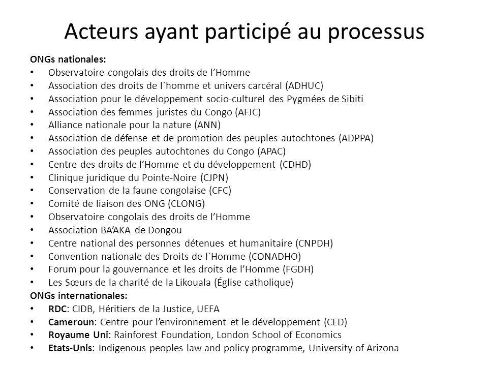 Acteurs ayant participé au processus