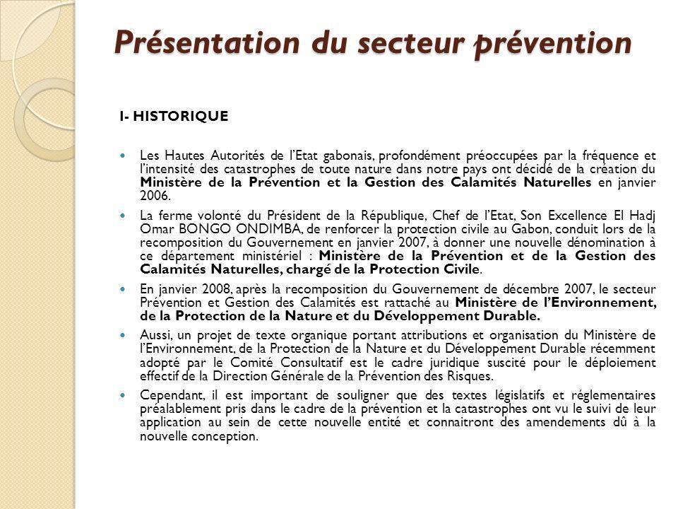 Présentation du secteur prévention