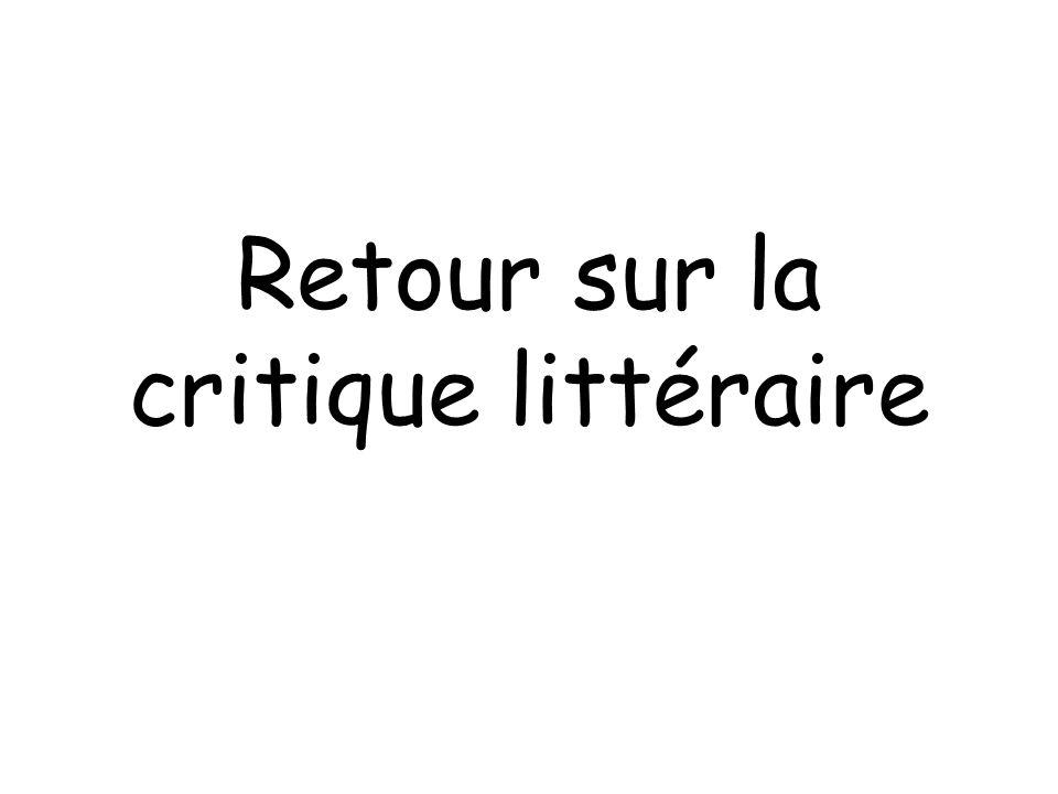 Retour sur la critique littéraire