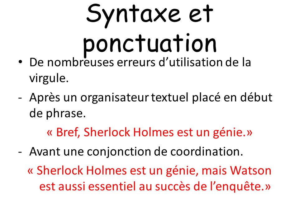 Syntaxe et ponctuation