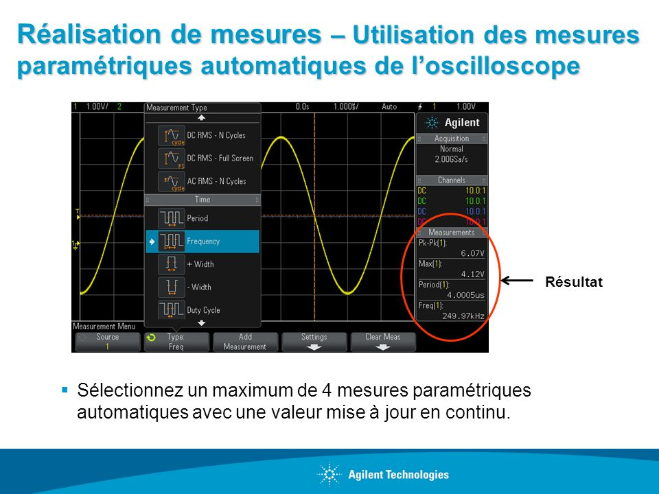 Réalisation de mesures – Utilisation des mesures paramétriques automatiques de l'oscilloscope
