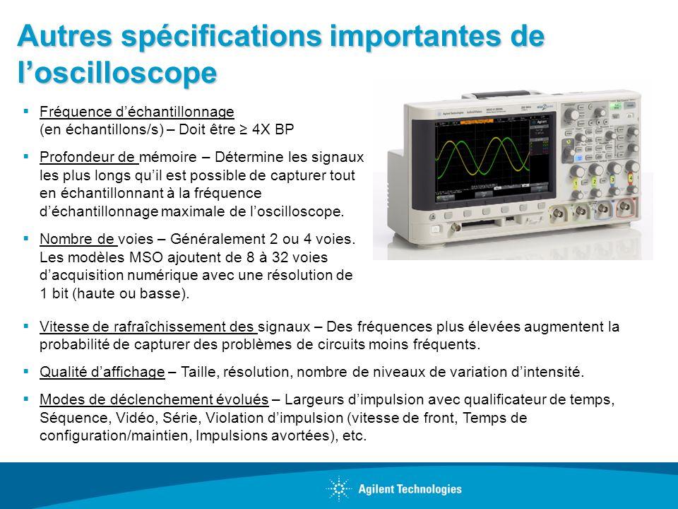 Autres spécifications importantes de l'oscilloscope