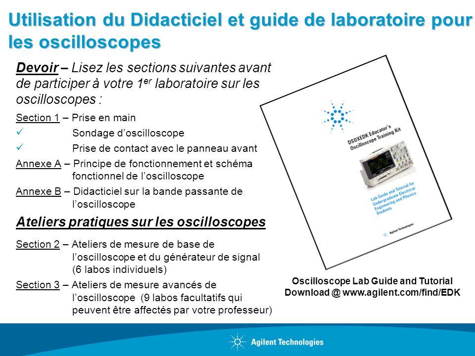Utilisation du Didacticiel et guide de laboratoire pour les oscilloscopes