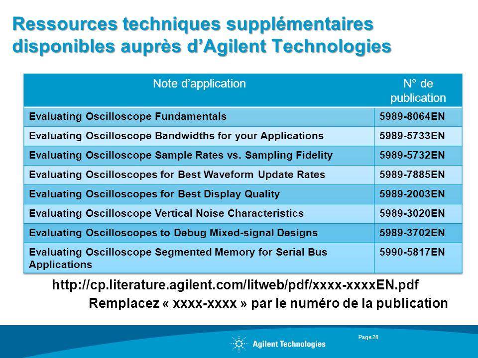 Ressources techniques supplémentaires disponibles auprès d'Agilent Technologies