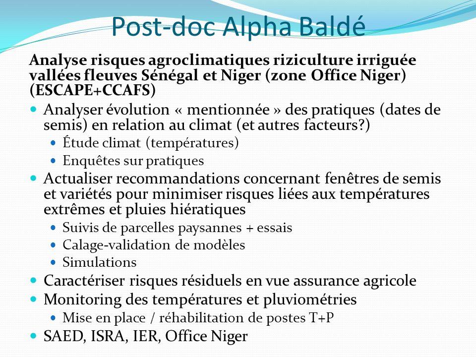 Post-doc Alpha Baldé Analyse risques agroclimatiques riziculture irriguée vallées fleuves Sénégal et Niger (zone Office Niger) (ESCAPE+CCAFS)