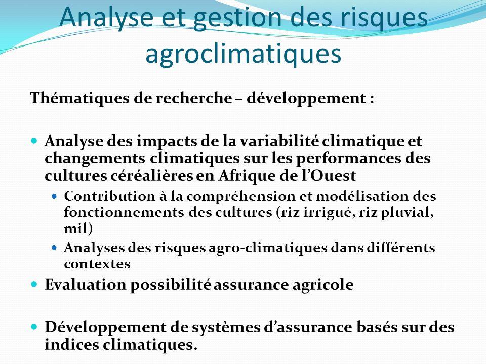 Analyse et gestion des risques agroclimatiques