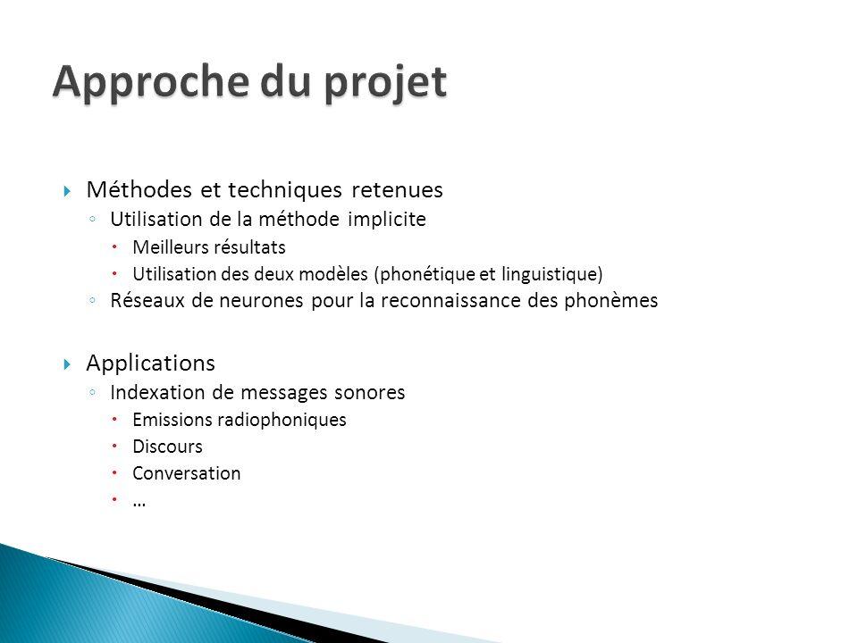 Approche du projet Méthodes et techniques retenues Applications