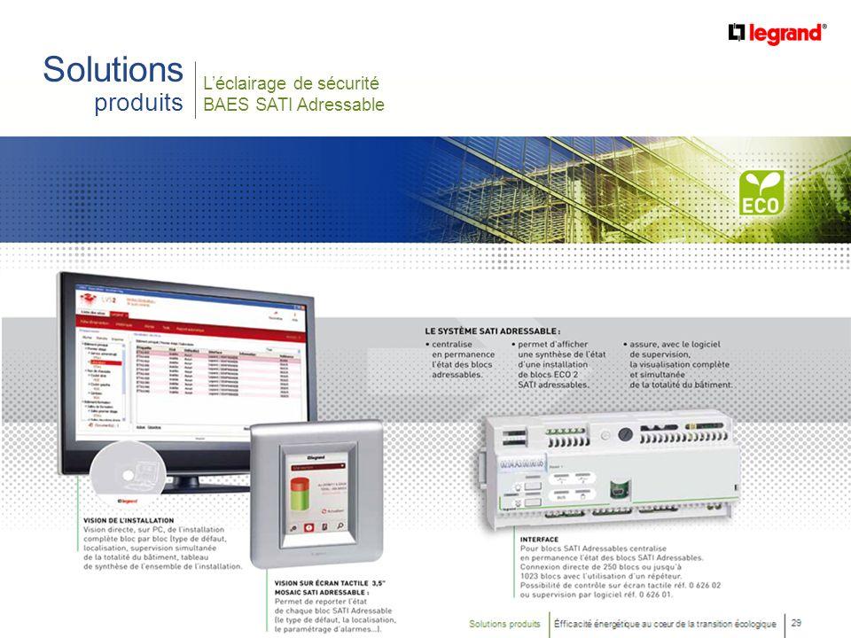 Solutions produits L'éclairage de sécurité BAES SATI Adressable