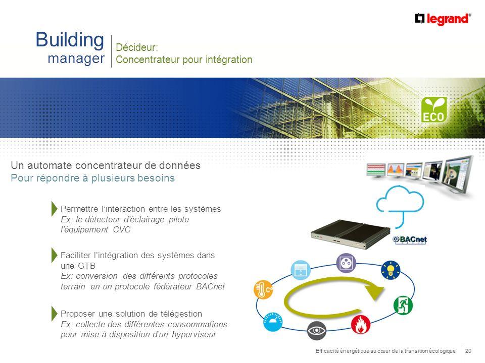 Building manager Un automate concentrateur de données