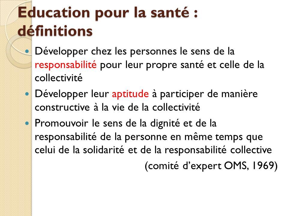 Education pour la santé : définitions