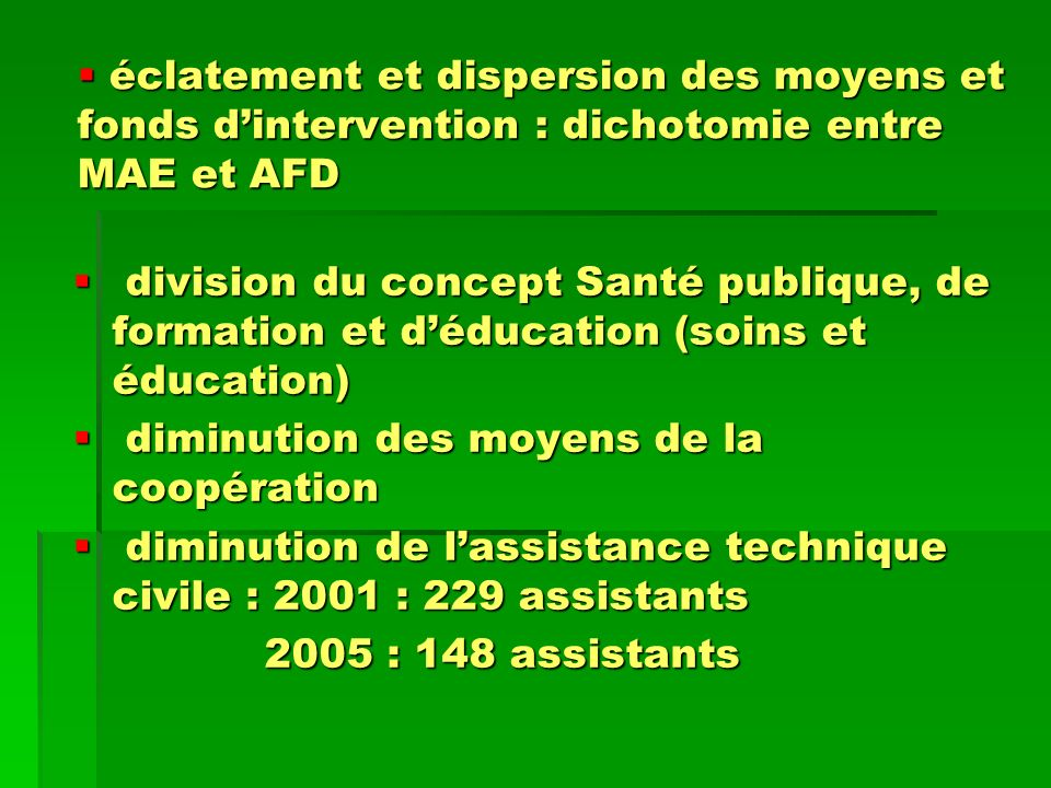 éclatement et dispersion des moyens et fonds d'intervention : dichotomie entre MAE et AFD