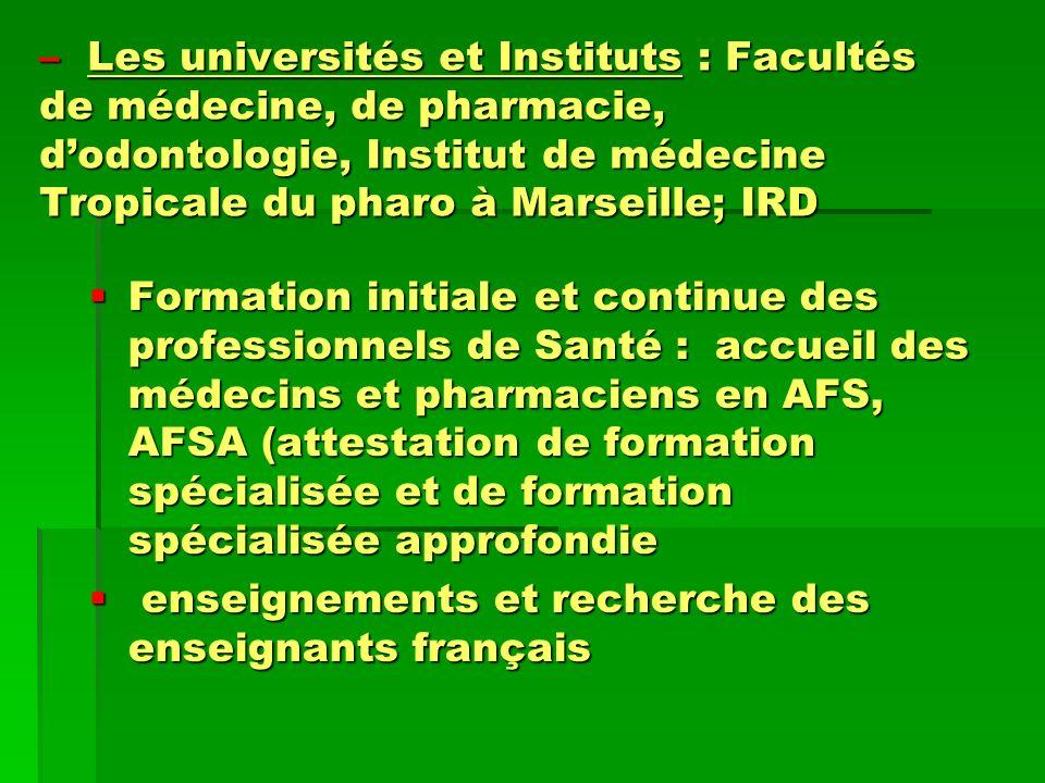 Les universités et Instituts : Facultés de médecine, de pharmacie, d'odontologie, Institut de médecine Tropicale du pharo à Marseille; IRD