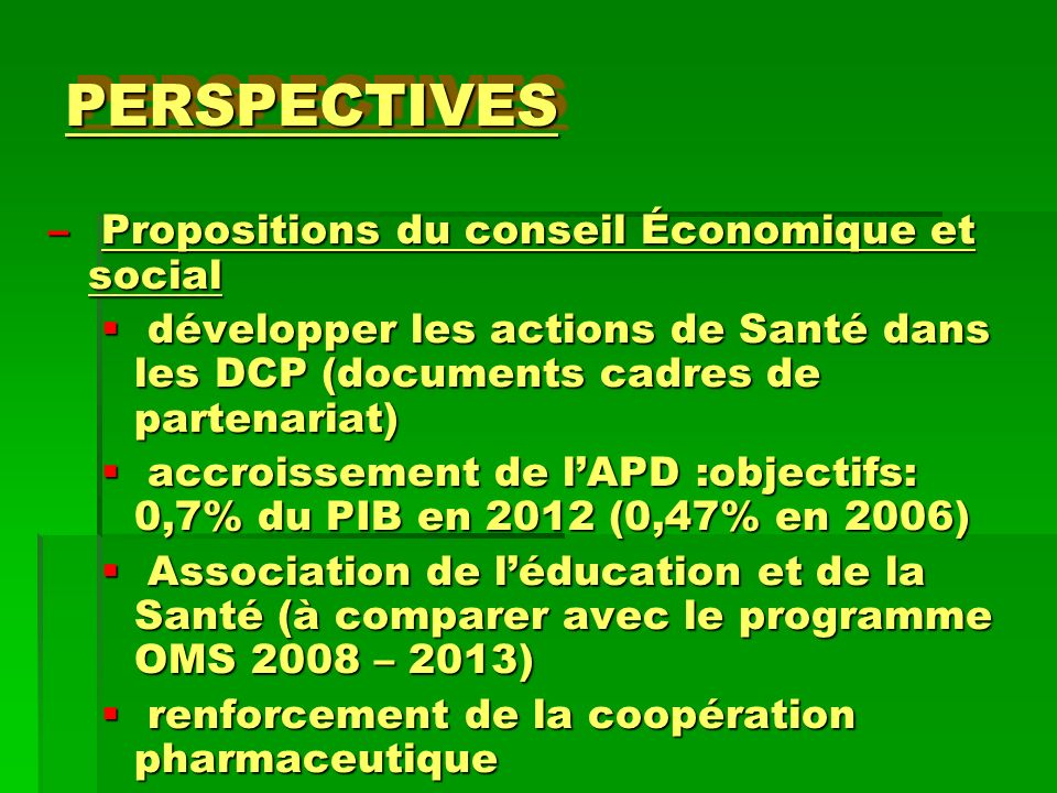 PERSPECTIVES Propositions du conseil Économique et social