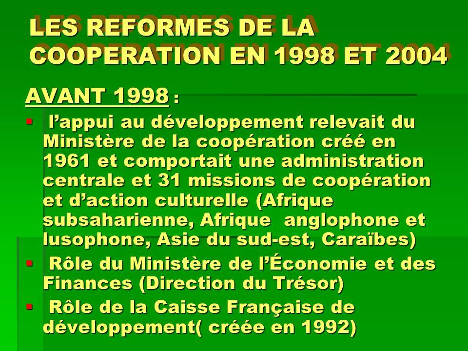 LES REFORMES DE LA COOPERATION EN 1998 ET 2004