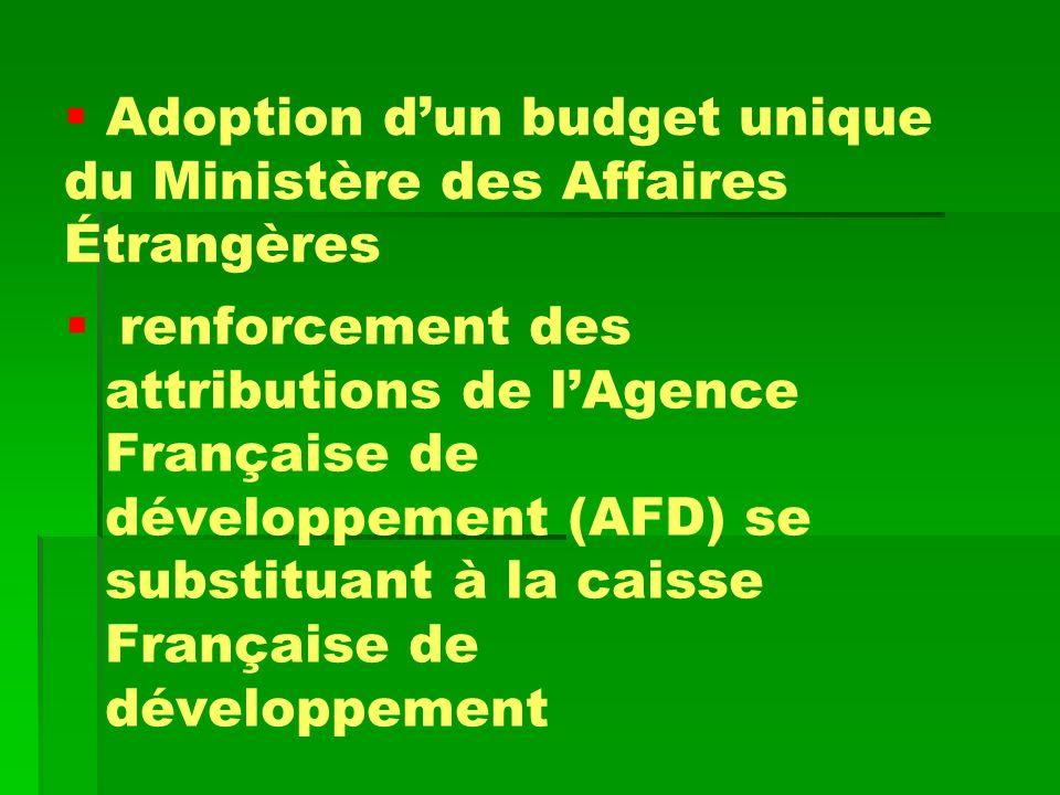 Adoption d'un budget unique du Ministère des Affaires Étrangères