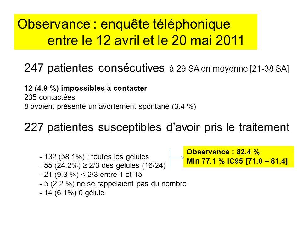Observance : enquête téléphonique entre le 12 avril et le 20 mai 2011
