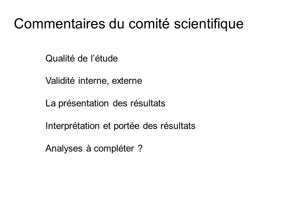 Commentaires du comité scientifique