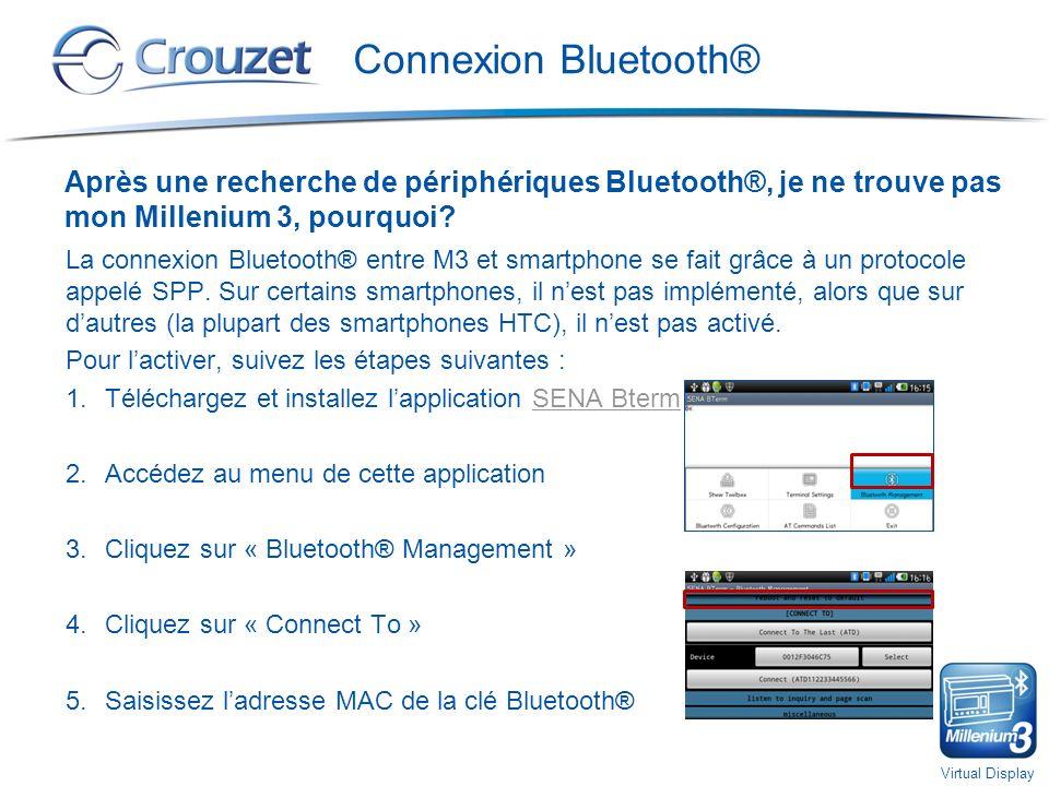 Connexion Bluetooth® Après une recherche de périphériques Bluetooth®, je ne trouve pas mon Millenium 3, pourquoi