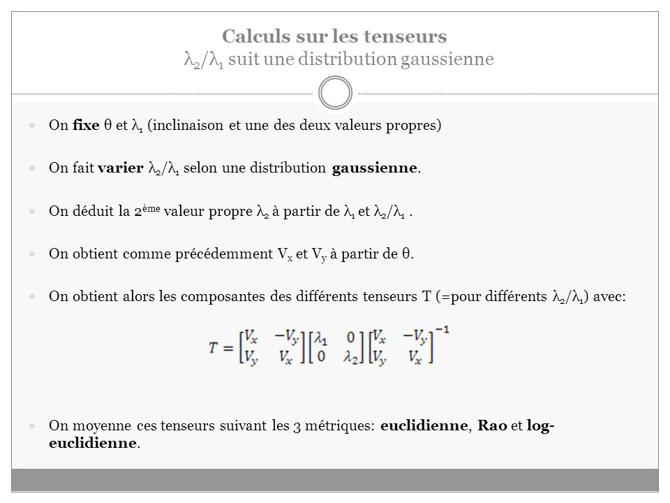 Calculs sur les tenseurs λ2/λ1 suit une distribution gaussienne