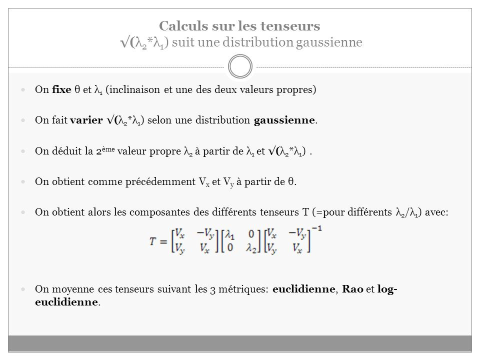 Calculs sur les tenseurs √(λ2*λ1) suit une distribution gaussienne