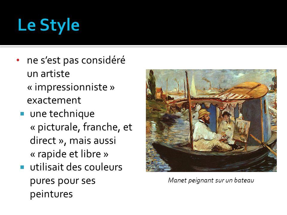 Le Style ne s'est pas considéré un artiste « impressionniste » exactement.
