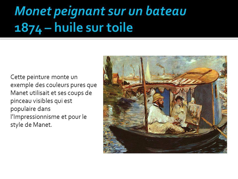 Monet peignant sur un bateau 1874 – huile sur toile