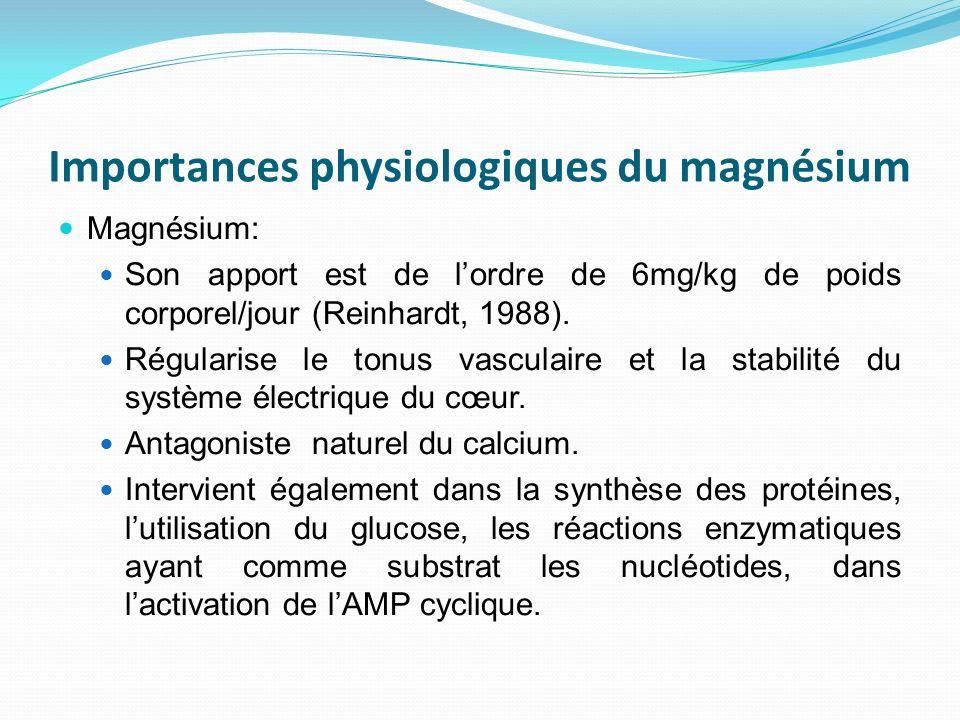 Importances physiologiques du magnésium