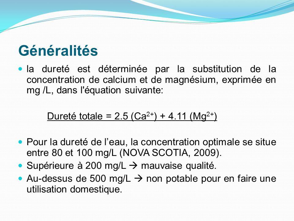 Généralités la dureté est déterminée par la substitution de la concentration de calcium et de magnésium, exprimée en mg /L, dans l équation suivante: