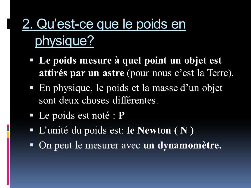 2. Qu'est-ce que le poids en physique