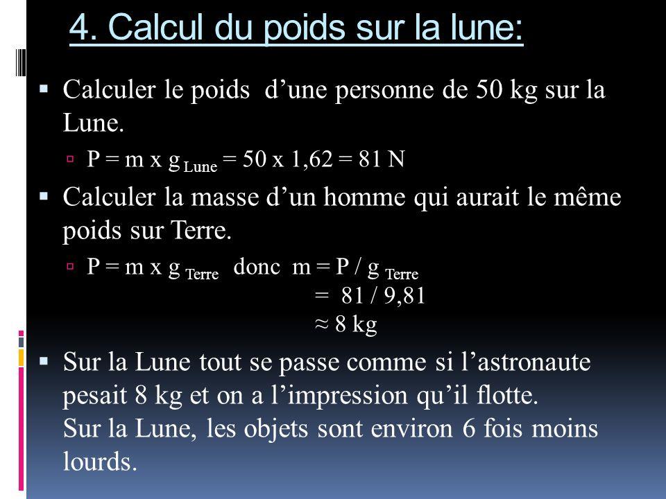 4. Calcul du poids sur la lune: