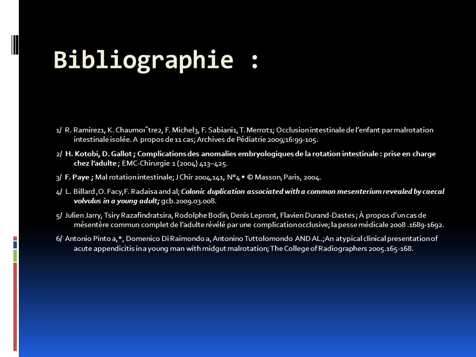 Bibliographie :