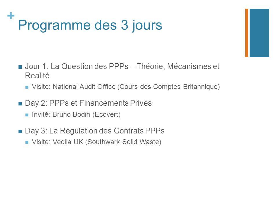 Programme des 3 jours Jour 1: La Question des PPPs – Théorie, Mécanismes et Realité. Visite: National Audit Office (Cours des Comptes Britannique)