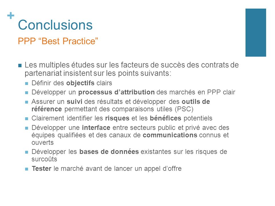 Conclusions PPP Best Practice